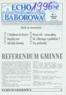 Echo Baborowa : pismo mieszkańców miasta i gminy Baborów 1996, nr 1.