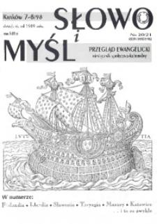 Słowo i Myśl. Przegląd Ewangelicki. Miesięcznik Społeczno- Kulturalny, 1998, nr 7/8 (20/21)