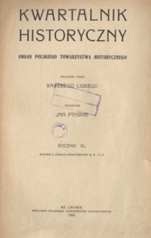 Kwartalnik Historyczny. R 40 (1926)