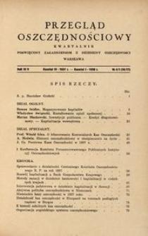 Przegląd Oszczędnościowy. Kwartalnik poświęcony zagadnieniom z dziedziny oszczędności, 1937/1938, R. 4/5, nr 4/1 (16-17)