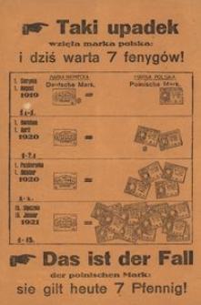 Taki upadek wzięła marka polska: i dziś warta 7 fenygów! [!] = Das ist der Fall der polnischen Mark: sie gilt heute 7 Pfennig!