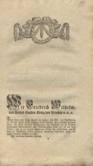 Wir Friedrich Wilhelm, von Gottes Gnaden König von Preussen etc. etc. etc...