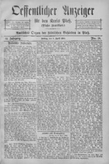 Oeffentlicher Anzeiger für den Kreis Pleß, 1904, Jg. 52, Nro. 28