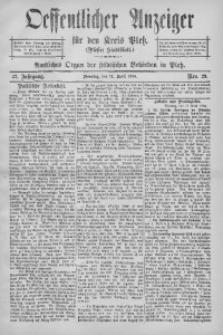 Oeffentlicher Anzeiger für den Kreis Pleß, 1904, Jg. 52, Nro. 29