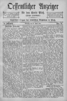 Oeffentlicher Anzeiger für den Kreis Pleß, 1904, Jg. 52, Nro. 33