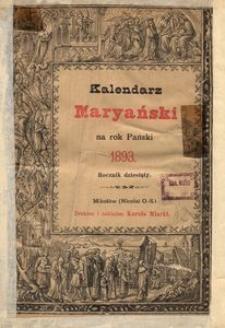 Kalendarz Maryański na Rok Pański 1893. R. 10