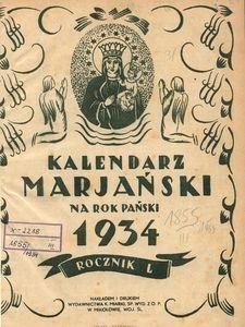 Kalendarz Marjański na Rok Pański 1934. R. 50