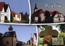 Dzielów. Kościół pw. Św. Mikołaja, plebania, kapliczka oraz krzyż pokutny.