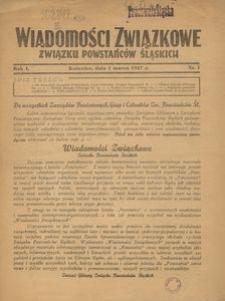 Wiadomości Związkowe Związku Powstańców Śląskich, R. 1, nr 1