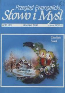 Słowo i Myśl. Przegląd Ewangelicki, 1991, Nr 12