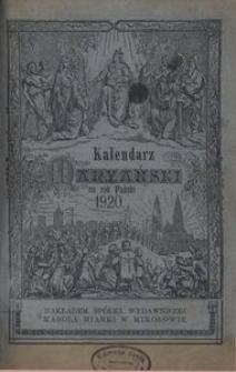 Kalendarz Marjański [na Rok Przestępny] 1920. R. 37