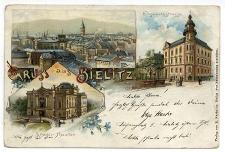 Gruss aus Bielitz. Elisabethstrasse. Stadt-Theater