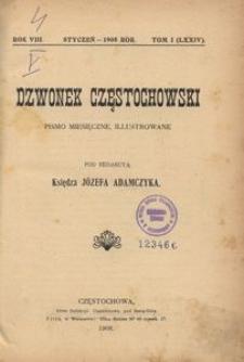Dzwonek Częstochowski : pismo miesięczne, illustrowane, 1908, R.8, T.1 (74) - styczeń