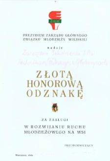 Złota Honorowa Odznaka.