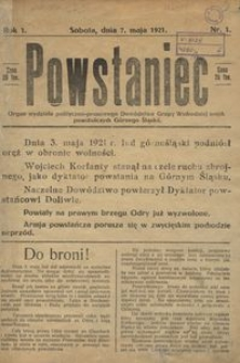 Powstaniec, 1921, R. 1, nr 1