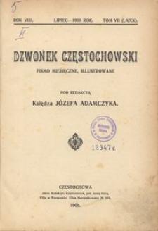 Dzwonek Częstochowski : pismo miesięczne, illustrowane. 1908, R.8, T.7(80) - lipiec