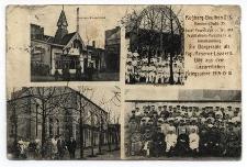 Rossberg-Beuthen O./S. Kaminerstrasse 35 Josef Pawelczyk ... Bild aus dem Lazarettleben Kriegsjahre 1914-15-16. Garten-Ausschank. Saal. Pavillon