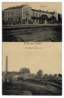 Gruss aus Chybi. Bahnhof. Erzherzogl. Zuckerfabrik