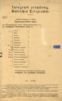 Telegram urzędowy. = Amtliches Telegramm