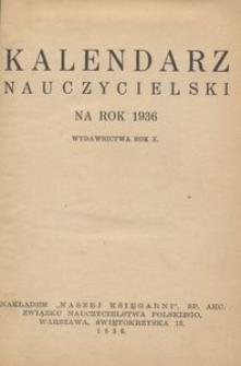Kalendarz nauczycielski na rok 1936