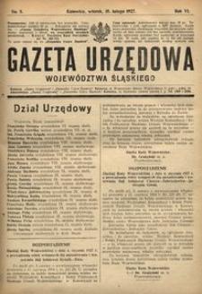 Gazeta Urzędowa Województwa Śląskiego, 1927, R. 6, nr 5