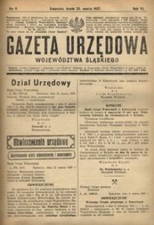 Gazeta Urzędowa Województwa Śląskiego, 1927, R. 6, nr 9
