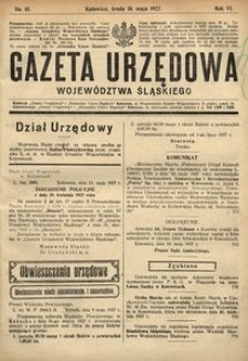 Gazeta Urzędowa Województwa Śląskiego, 1927, R. 6, nr 15