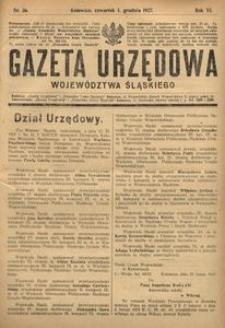 Gazeta Urzędowa Województwa Śląskiego, 1927, R. 6, nr 36