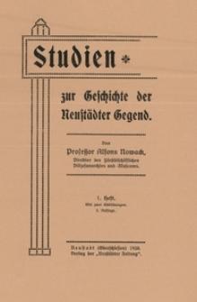 Studien zur Geschichte der Neustädter Gegend. 1. Heft. - 2 Aufl.