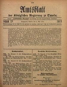 Amtsblatt der Königlichen Regierung zu Oppeln, 1914, Bd. 99, St. 18