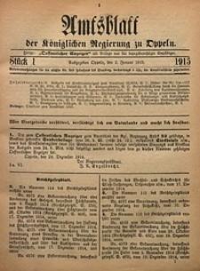 Amtsblatt der Königlichen Regierung zu Oppeln, 1915, Bd. 100, St. 1