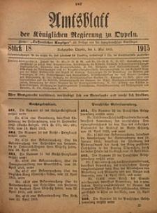 Amtsblatt der Königlichen Regierung zu Oppeln, 1915, Bd. 100, St. 18