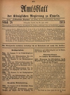 Amtsblatt der Königlichen Regierung zu Oppeln, 1915, Bd. 100, St. 26