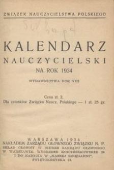 Kalendarz nauczycielski na rok 1934