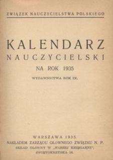 Kalendarz nauczycielski na rok 1935