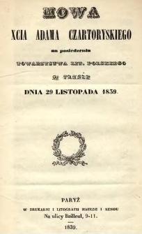 Mowa xcia Adama Czartoryskiego na posiedzeniu Towarzystwa Lit. Polskiego w Paryżu dnia 29 listopada 1839