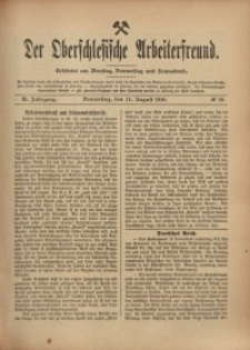 Der Oberschlesische Arbeiterfreund, 1910/1911, Jg. 11, No 56