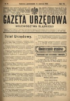 Gazeta Urzędowa Województwa Śląskiego, 1928, R. 7, nr 19