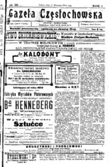 Gazeta Częstochowska, 1909, R. 1, No 38