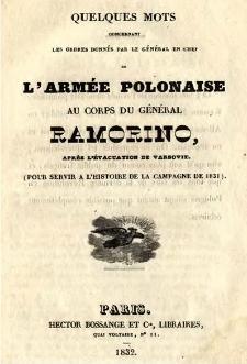 Quelques mots concernant les ordres donnés par le général en chef de l'armée polonaise au corps du général Ramorino, après l'évacuation de Varsovie