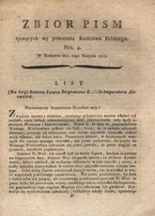 Zbiór pism tyczących się powstania Krolestwa Polskiego Nro. 4. W Krakowie dnia 20go Sierpnia 1812