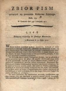Zbiór pism tyczących się powstania Krolestwa Polskiego Nro. 15. W Krakowie dnia 5go Listopada 1812