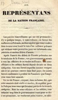 Aux représentana de la nation Française