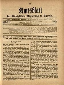 Amtsblatt der Königlichen Regierung zu Oppeln, 1918, Bd. 103, St. 7