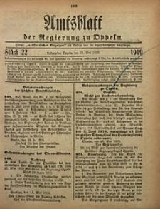Amtsblatt der Regierung zu Oppeln, 1919, Bd. 104, St. 22