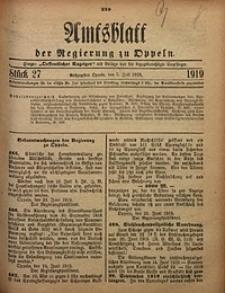 Amtsblatt der Regierung zu Oppeln, 1919, Bd. 104, St. 27