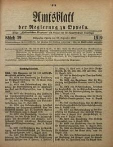 Amtsblatt der Regierung zu Oppeln, 1919, Bd. 104, St. 39