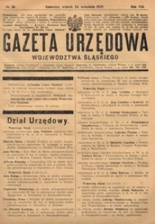 Gazeta Urzędowa Województwa Śląskiego, 1929, R. 8, nr 30