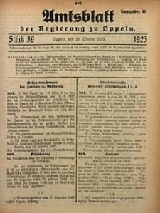 Amtsblatt der Regierung zu Oppeln, 1923, Bd. 108, St. 39