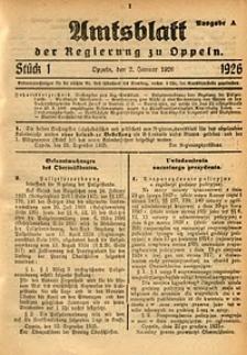 Amtsblatt der Regierung zu Oppeln, 1926, Bd. 111, St. 1